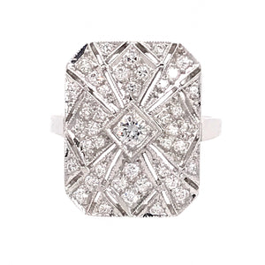 Antique 14k White Gold Diamond Ring
