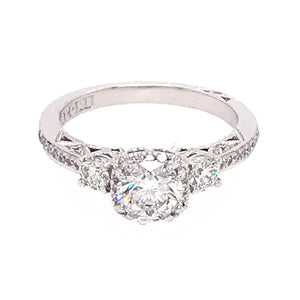 Tacori 18k White Gold GIA Certified Diamond Engagement Ring
