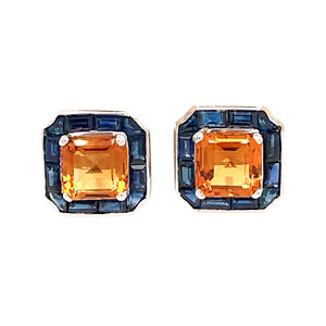 Important Topaz and Sapphire Earrings and Ring Set 18k White Gold