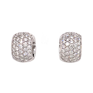 18k White Gold 2.10 carat Diamond Huggies Earrings