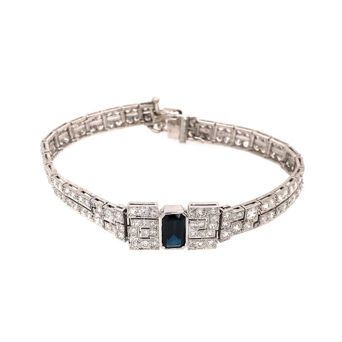 Deco Style Platinum Diamond and Sapphire Bracelet