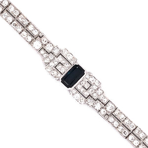 Beautiful Platinum Sapphire and Diamond Bow Bracelet