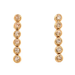 14k Yellow Gold Diamond Dangle Drop Earrings