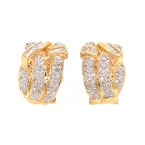 Estate 14k Yellow Gold Diamond Huggies Earrings