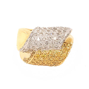 14k Yellow Gold with Fancy Yellow Diamond Scrolls Ring