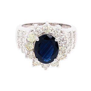 Estate 14k White Gold Sapphire and Diamond Ring