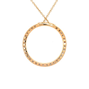 Contemporary 14k Yellow Gold Circle Diamond Pendant Necklace