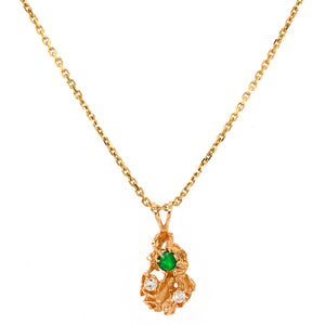 1970s 18k Yellow Gold Nugget Emerald and Diamond Necklace