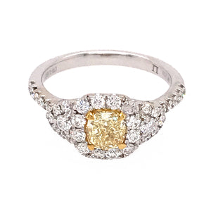 18k White Gold Fancy Yellow Diamond Engagement Ring