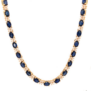 Fabulous 14k Yellow Gold Diamond and Sapphire Necklace