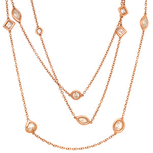 Stunning 14k Rose Gold Diamond Long Chain Necklace