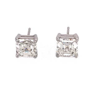 Square Emerald Cut 3.10 Carat Diamond Studs Earrings