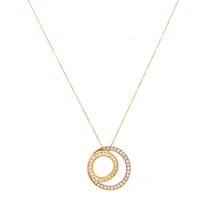 Stylish 18k Yellow Gold Diamond Circles Pendant Necklace