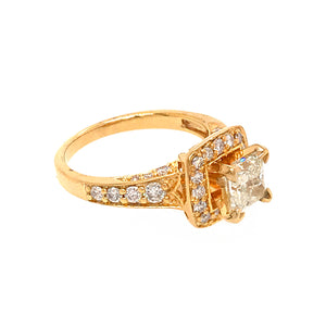 14k Yellow Gold 0.95 carat Princess Cut Diamond Engagement Ring