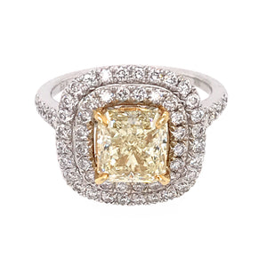 GIA Certified Fancy Yellow Princess Cut Diamond Ring