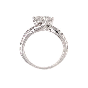 Sweet 14k White Gold 2 Diamond Engagement Ring