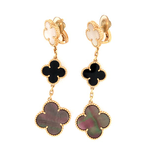 Van Cleef and Arpels 3 Motifs Alhambra Earrings
