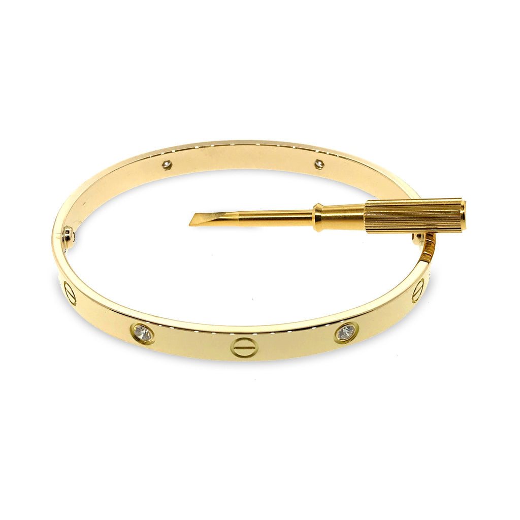 Cartier 18K Yellow Gold 4 Diamond Love Bracelet - New Locking mechanism