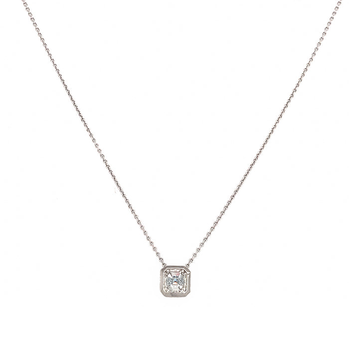 Platinum 1.05 carat Ascher Cut Diamond Pendant Necklace