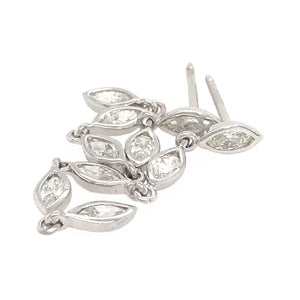 Fab Drops 14k White Gold Marquise Diamond Drop Earrings