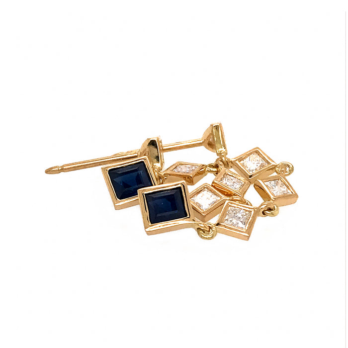 Fab Drops 18k Yellow Gold Princess Cut Diamond and Sapphire Drop Earrings