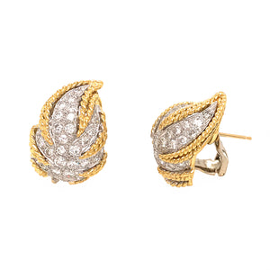 Estate 18k Yellow Gold Leaf Diamond Earrings