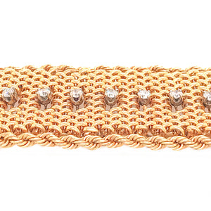Estate 14k Yellow Gold Wide Diamond Bracelet