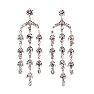 14k White Gold Chandelier Diamond Earrings