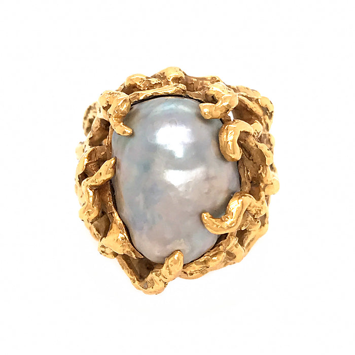 Arthur King 18k Yellow Gold Baroque Pearl Ring