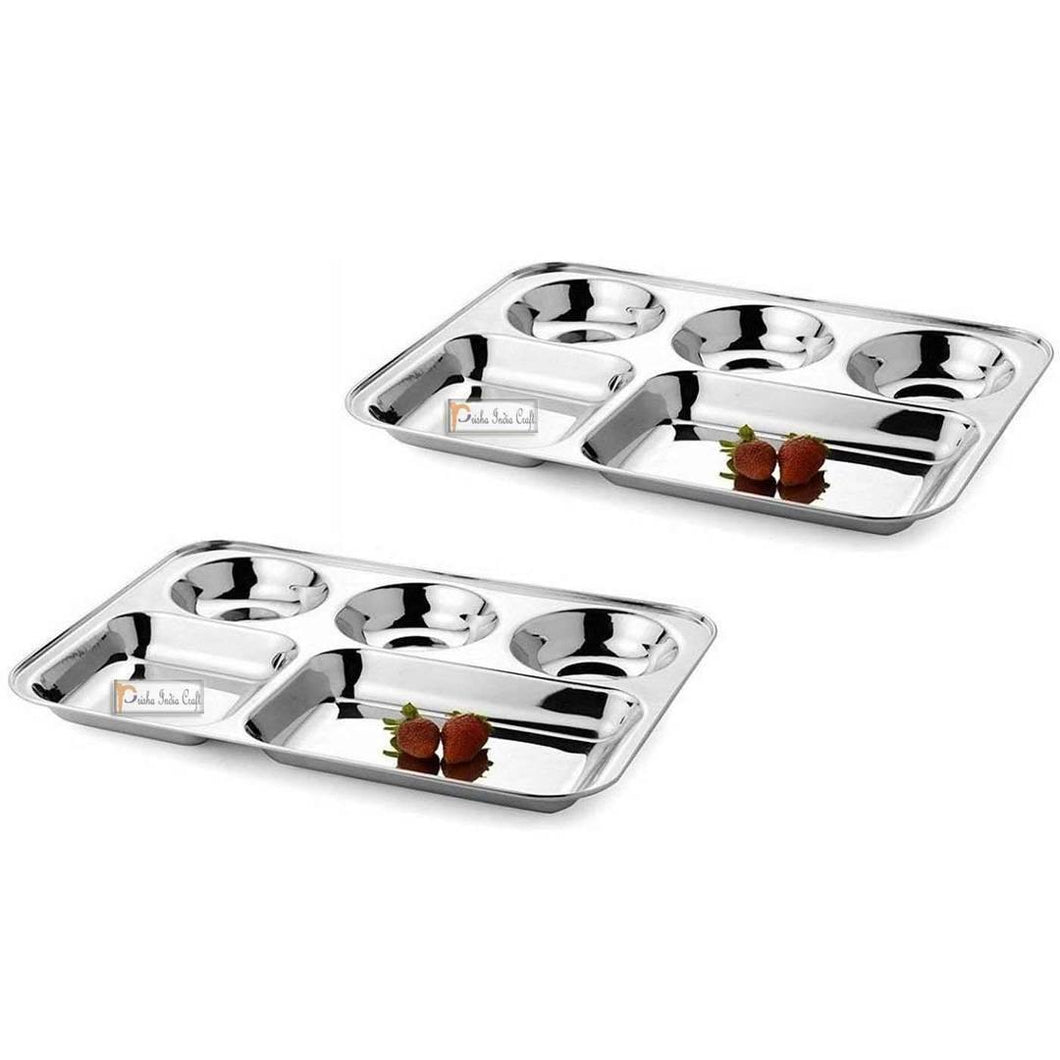 Set Of 2 Steel Plates With 5 Compartments