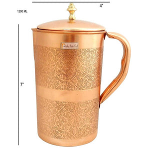 Embossed Design Pure Copper Water Jug Pitcher with Lid, Serveware & Drinkware, Capacity 1200 ML, Brown