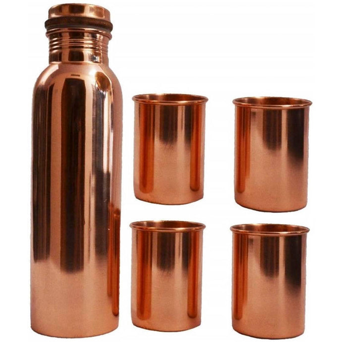 Health Mechanic Pure Copper Bottle with copper glass(pack of 5)