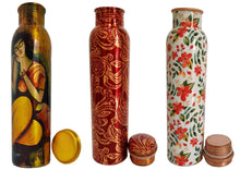 Load image into Gallery viewer, Essential Multicoloured Copper Water Bottle - Combo Of 3 (1000 ml each Bottle)