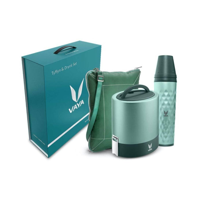 Combo Set - Green 1000 ml Copper-Finished Stainless Steel Lunch Box with BagMat and 600 ml Water Bottle (with Gulper Lid and 2 Cups), Color: Green