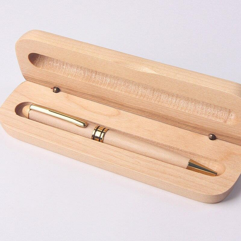 Maple Wood Ballpoint Pen With Bamboo Case - Earth Thanks - Maple Wood Ballpoint Pen With Bamboo Case - natural, vegan, eco-friendly, organic, sustainable, anti-microbial, antibacterial, antimicrobial, bamboo, box, case, compostable, container, disposable, gift, holder, maple wood, non toxic, office, pen, pencil case, pouch, recyclable, recycle, recycle friendly, reusable, stationery, sterile, unisex, vegan friendly, wood, wooden, writing