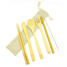 Load image into Gallery viewer, Bamboo Cutlery Set of 8 pieces