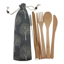 Load image into Gallery viewer, Bamboo Cutlery Set (8 pieces) Dark with light trees / Natural / 8 pcs Travel - earth-thanks.myshopify.com