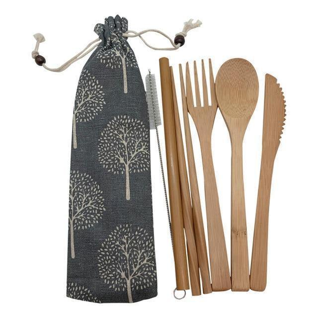 Bamboo Cutlery Set (8 pieces) Dark with light trees / Natural / 8 pcs Travel - earth-thanks.myshopify.com