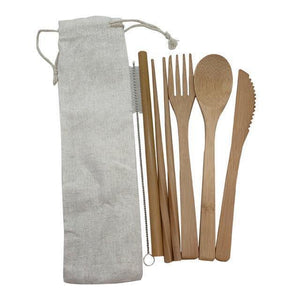 Bamboo Cutlery Set (8 pieces) Natural / Natural / 8 pcs Travel - earth-thanks.myshopify.com