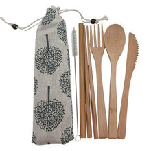 Load image into Gallery viewer, Bamboo Cutlery Set (8 pieces) Light with dark trees / Natural / 8 pcs Travel - earth-thanks.myshopify.com