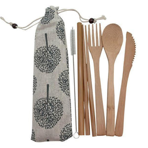 Bamboo Cutlery Set (8 pieces) Light with dark trees / Natural / 8 pcs Travel - earth-thanks.myshopify.com