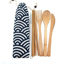 Load image into Gallery viewer, Bamboo Cutlery Set (8 pieces) Black and white zen ripples / Natural / 8 pcs Travel - earth-thanks.myshopify.com