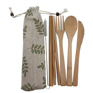 Bamboo Cutlery Set (8 pieces) Natural with leaves / Natural / 8 pcs Travel - earth-thanks.myshopify.com