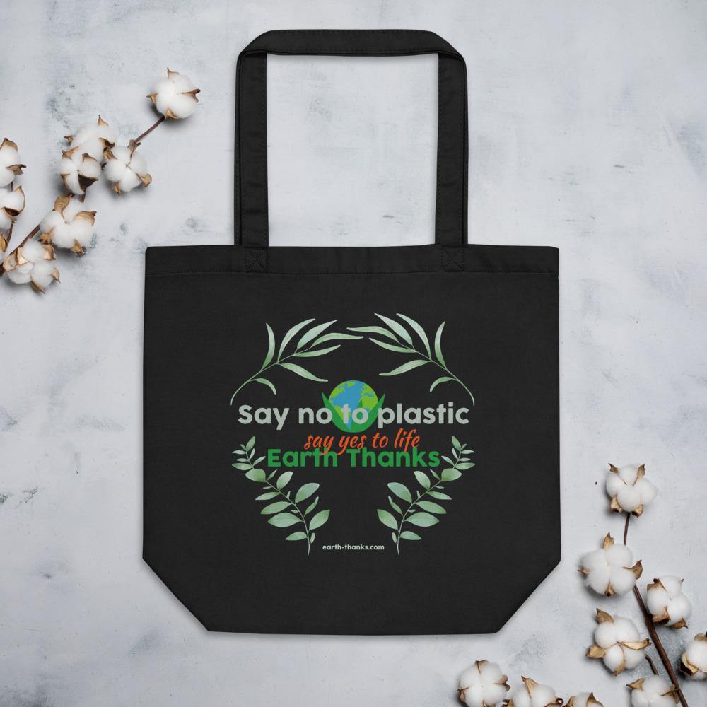 Say no to plastic - Eco Tote Bag - Earth Thanks - Say no to plastic - Eco Tote Bag - accessories, apparel, bag, city wear, compostable, cotton, cotton fiber, cotton twill, eco shoppers, fashion, handbag, non toxic, organic, organic cotton, outdoor, picnic, plastic free, portable, purse, recyclable, recycle, recycle friendly, reusable, shopper, shopping bag, shoulder bag, street wear, tote bag, travel, travel bag, traveling bag, unisex, vegan friendly, wardrobe, woman, women