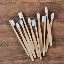 Load image into Gallery viewer, Natural Bamboo Antibacterial Toothbrushes Set of 12 pieces