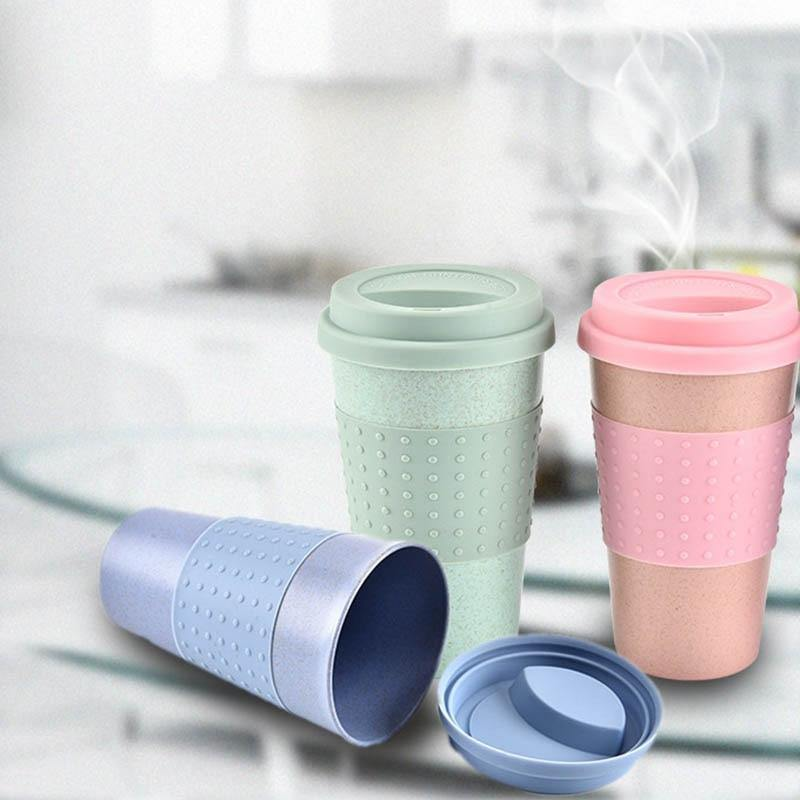 Reusable Wheat Straw Coffee Cup with Lid - Earth Thanks