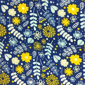 Reusable Beeswax Food Wrap Flowers on blue / S 17.5x20cm / Blue Home & Kitchen - earth-thanks.myshopify.com