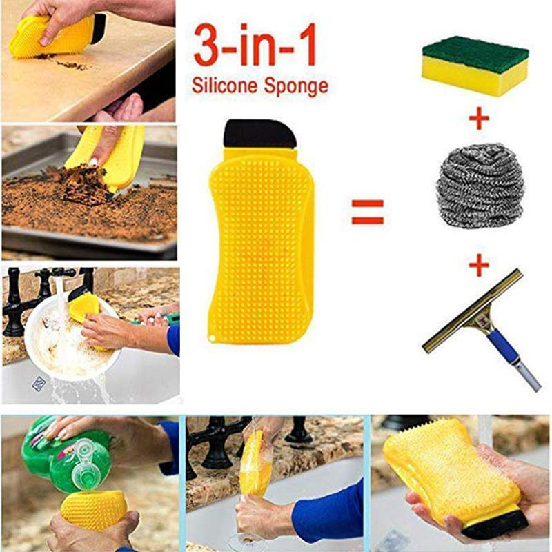 Magic 3 In 1 Silicone Cleaning Sponge - Earth Thanks - Magic 3 In 1 Silicone Cleaning Sponge - natural, vegan, eco-friendly, organic, sustainable, bathroom, camping, car, cleaning, cleaning products, container, disposable, food grade silicone, holder, home, home care, house, housekeeping, kitchen, liquid, non toxic, nylon, recyclable, recycle, recycle friendly, reusable, silicone, sponge, sterile, sterilizer, toilet, tools, vegan friendly
