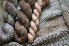 Load image into Gallery viewer, Dyed to Order • Woods Haven Shawl Kit • Solstice, Sparrow, & Blush