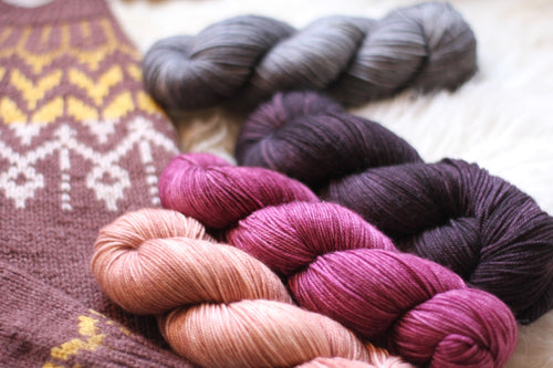 Dyed to Order • Dreyma Sweater Kit • Steel, Violet, Plum, and Blush